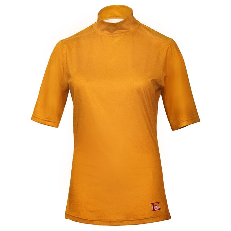 レディース モックネックシャツ ハーフスリーブ、ライトオレンジ